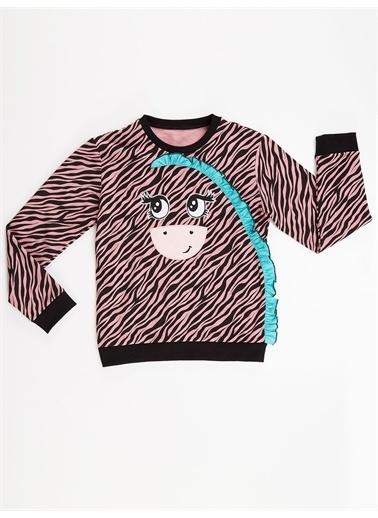 Denokids Zebra Kız Sweatshirt Renkli
